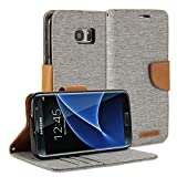 GMYLE Stand Wallet Case with Card Slots for Galaxy S7 Edge -  Aluminium Grey and Brown