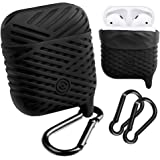 AirPods Case, NaHai Soft Silicone Case Water Resistant Shock Proof Protective Cover and Skin for AirPods Charging Case (Black)