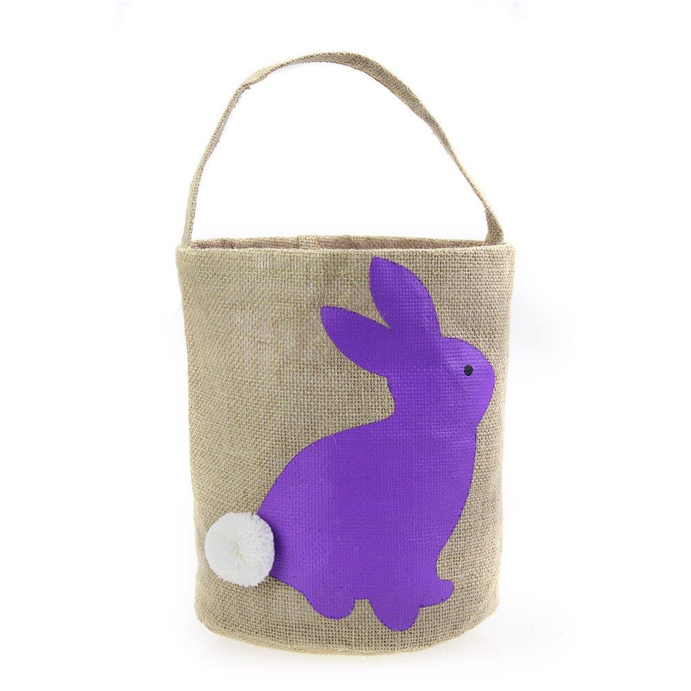 T & S Easter Basket for Kids Bunny Bag for Easter Hunt (Purple)