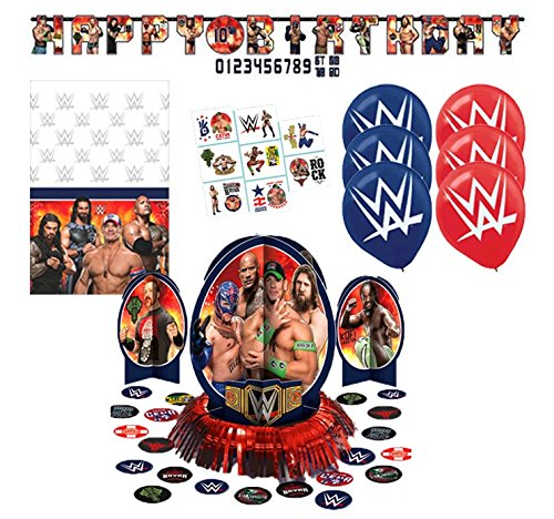 WWE Party Pack Banner Tablecloth Tattoos Balloons -