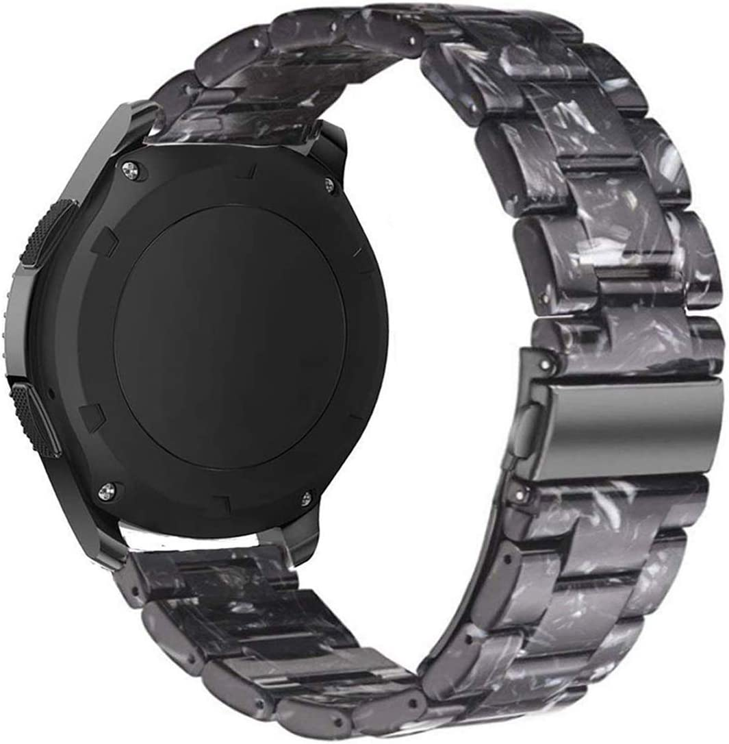 Omter Resin Band Compatible with Huawei Watch 2 Classic,Ticwatch Pro/E2/S2,Amazfit Stratos Band, 22mm Women Men Fashion Bracelet Strap(Black)