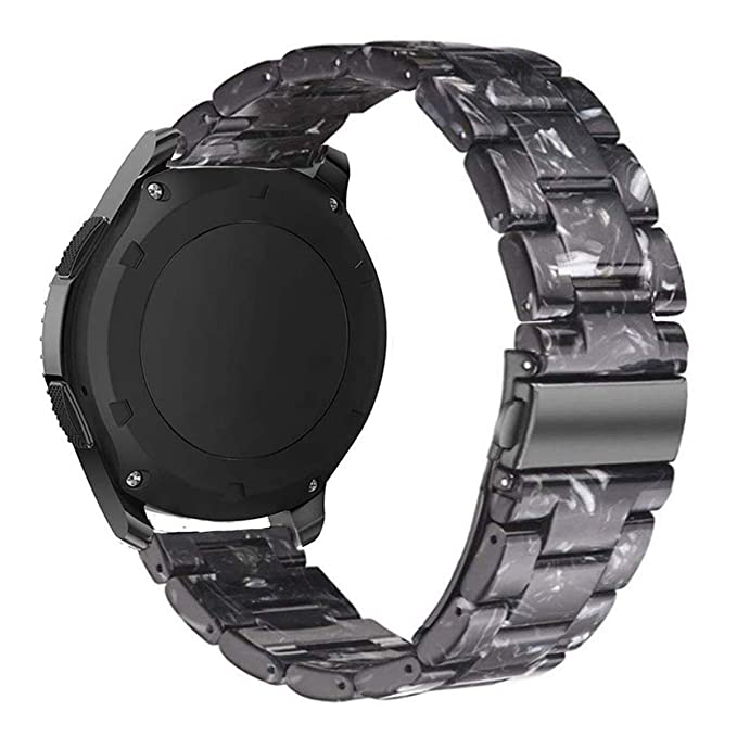 Omter Resin Band Compatible with Vivoactive 3/3 Music, Amazfit Bip,Forerunner 645 Music,20mm Women Men Fashion Bracelet Strap (Black)