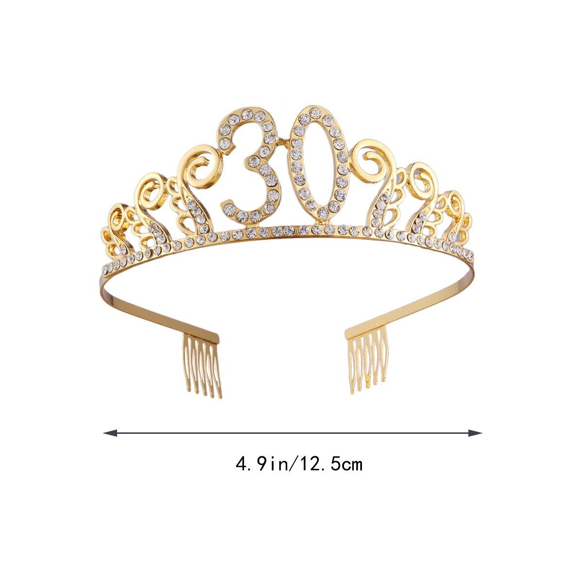 Frcolor Corona Cumpleaños 30 Años Diadema Cumpleaños Mujer Tiara Cristal con Peines (Oro)
