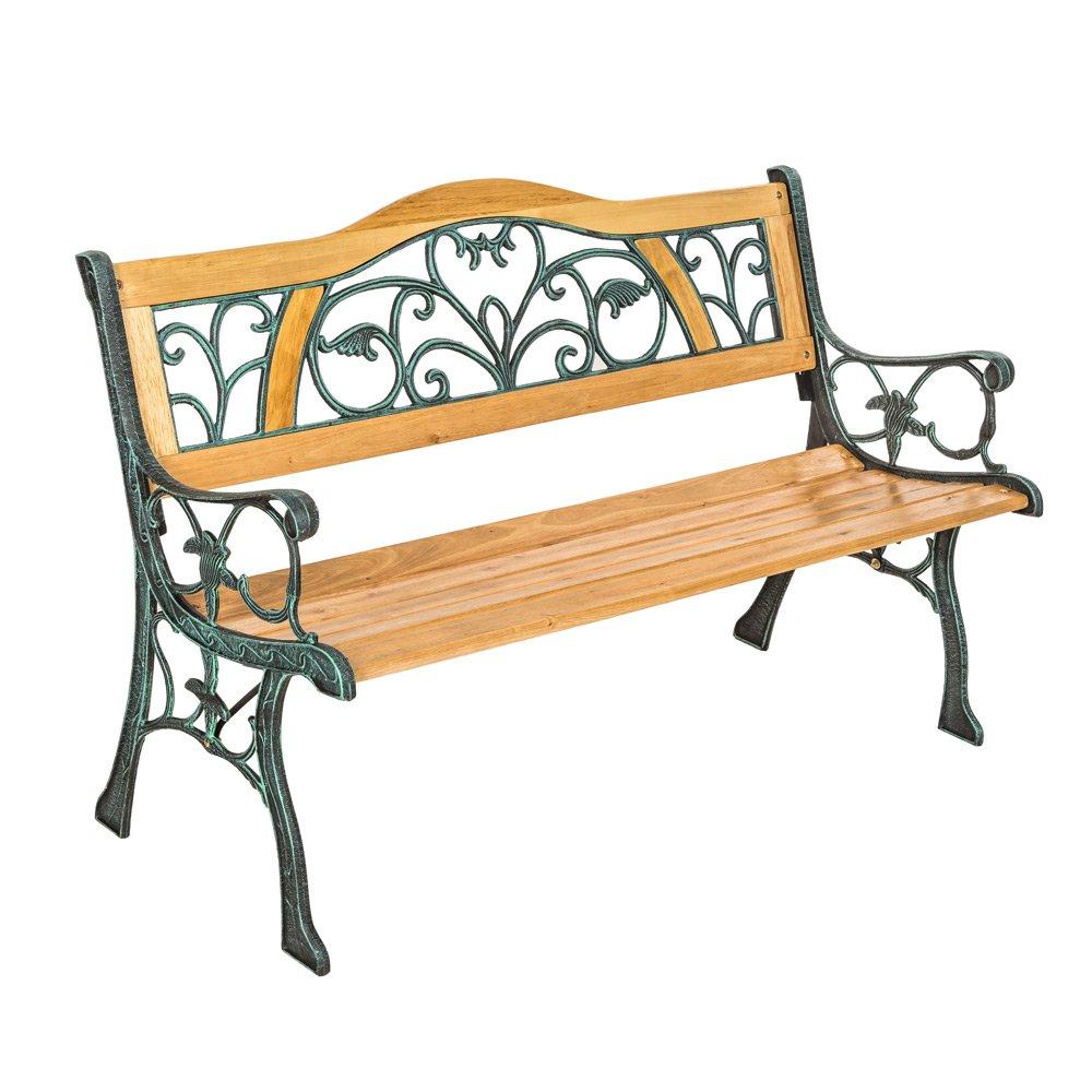 TecTake Banc de jardin, Poids: 24,5 kg!!, en bois et fonte, 124 x ...