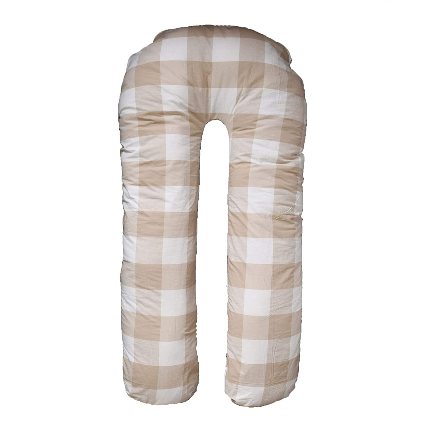 SleepyNights U SHAPE PREGNANCY MATERNITY WEDGE PILLOW REMOVABLE PRINTED REVERSIBLE COVER – BEIGE CHECK/STRIPES