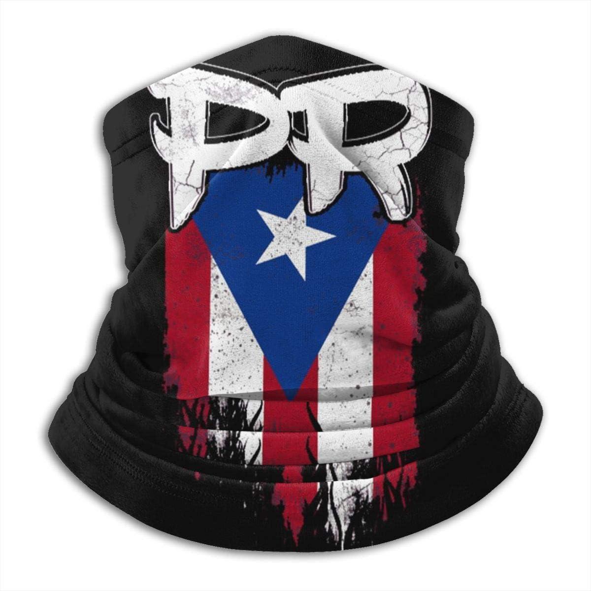 antfeagor Puerto Rico PR Flag Dust Sun Protection Cool Lightweight Windproof Unisex Seamless Rave Bandana Neck Gaiter Tube Headwear Bandana Summer UV Protection Neck Gaiter Face Scarf Mask