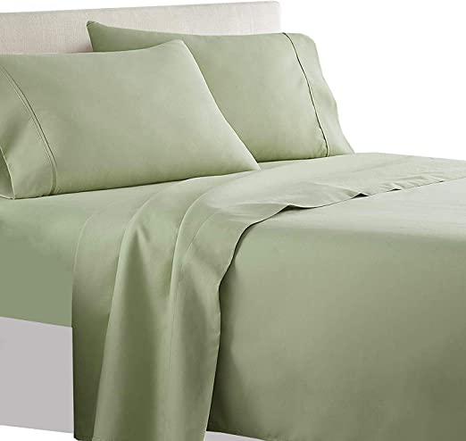 Complete Bedding Set Sage Green Stripe Choose Sizes 1000 TC Egyptian Cotton