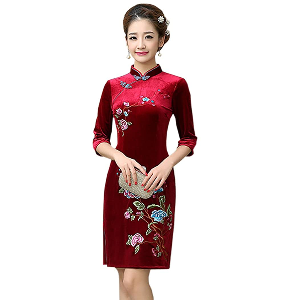 YueLian Women's Velvet 3/4 Sleeves Winter Qipao Chinese Cheongsam Short Dress