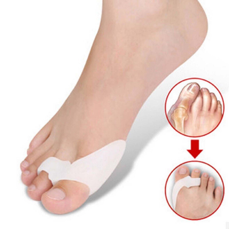 WONFAST 2pcs Silicone Alignment Foot Pain Relief Hallux Valgus Splint Big Gel Toe Spacer Separators Pads Bunion Straightener Orthosis Foot Care Bunion Guard (White)