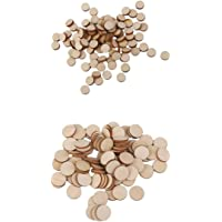 MagiDeal 200 Pieces Wood Circles Unfinished Round Discs Blank Wooden Cutout Slices Discs 10mm 20mm Diameter DIY Arts…