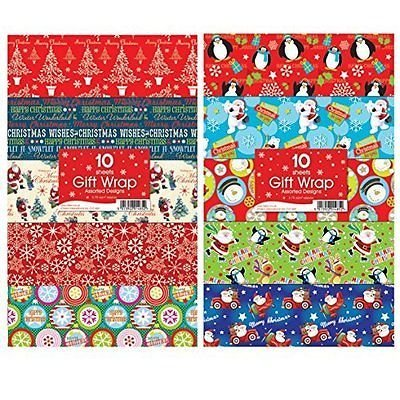 Flat Gift Wrapping Paper (30 sheet christmas gift wrap assorted designs)