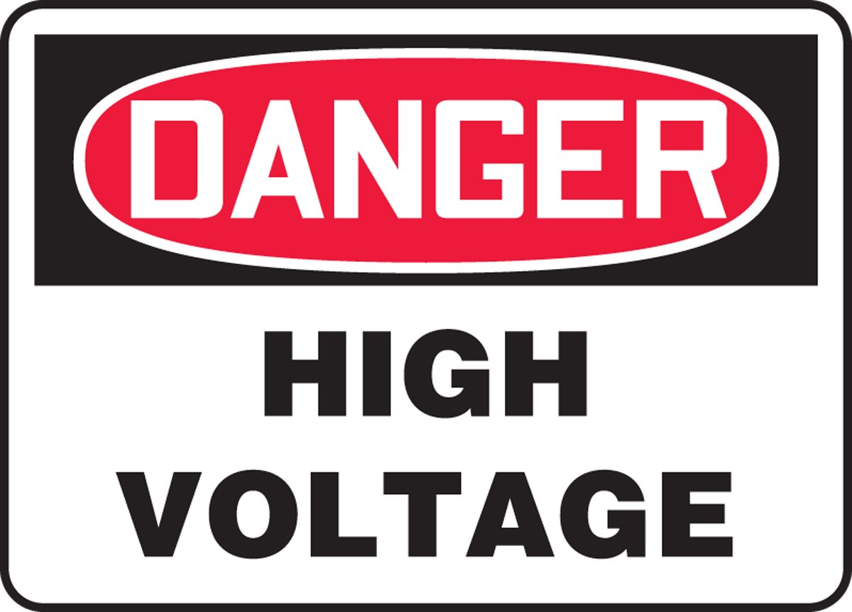 Adhesive Dura-Vinyl 10 x 14 Inches AccuformDanger High Voltage Safety Sign MELC114XV