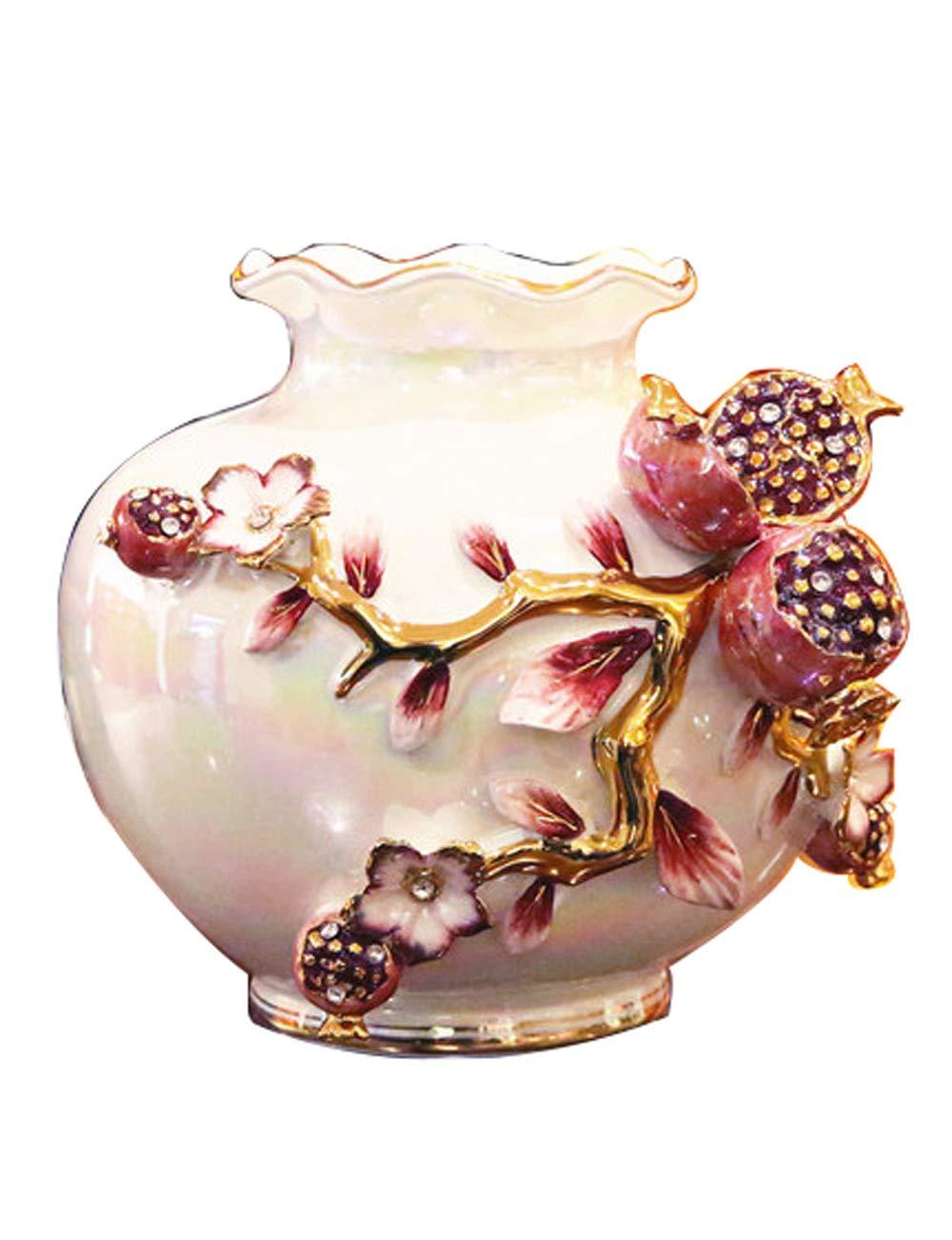 装飾品、セラミック材料のアートワーク、ヨーロッパスタイルのレトロ装飾、クリエイティブな花瓶の工芸品 (色 : Red)  Red B07K176HB5