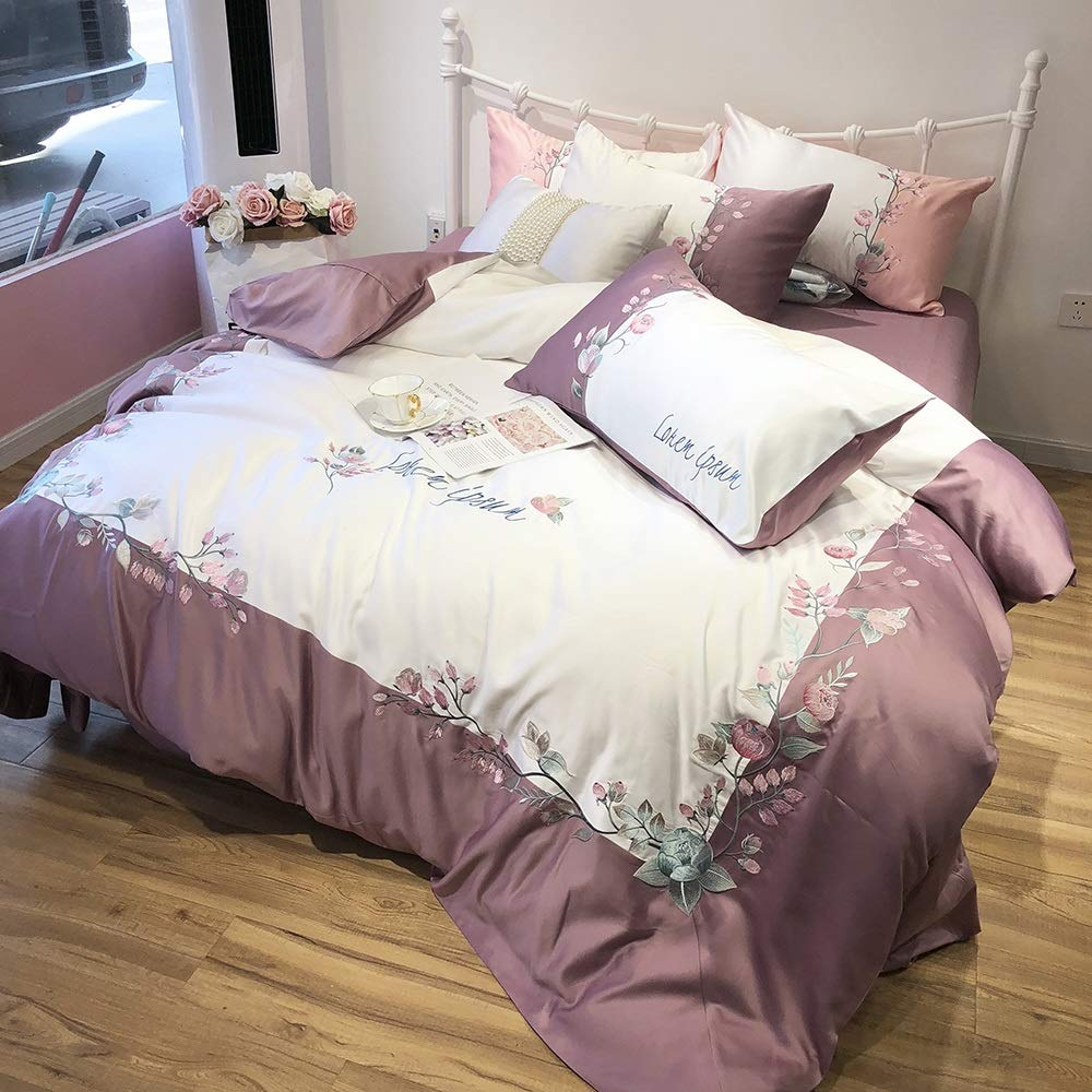 CSYP 洗ったシルクシーツ眠っているスリーピースセット無地刺繍刺繍A面洗ったシルクB面綿 (Color : Purple) B07Q56XMYZ