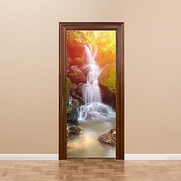 The decor is watertight door decals 3D simulation Door Decal (d) wooden doors forest & Amazon.com: The decor is watertight door decals 3D simulation Door ...