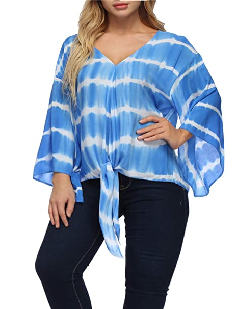 eb8ba091d Women Chiffon Blouse Plus Size Tie Dye Striped Shirt Trumpet Sleeve Tie  Knot Summer T-