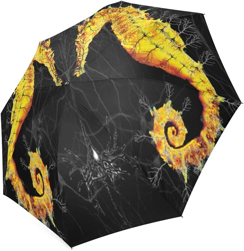 Custom Hippocampus Seahorse Compact Travel Windproof Rainproof Foldable Umbrella