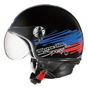 AXO Casco de Moto Subway Jet Negro/Azul / Rojo L (59-60