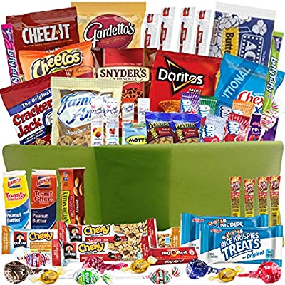 Care Package Gift Baskets with 54 Sweet and Salty Snacks - for College Students Gifts, Military Appreciation, Birthday Ideas - Send to Say Thinking of You, Thank You, Congratulations, I Miss You
