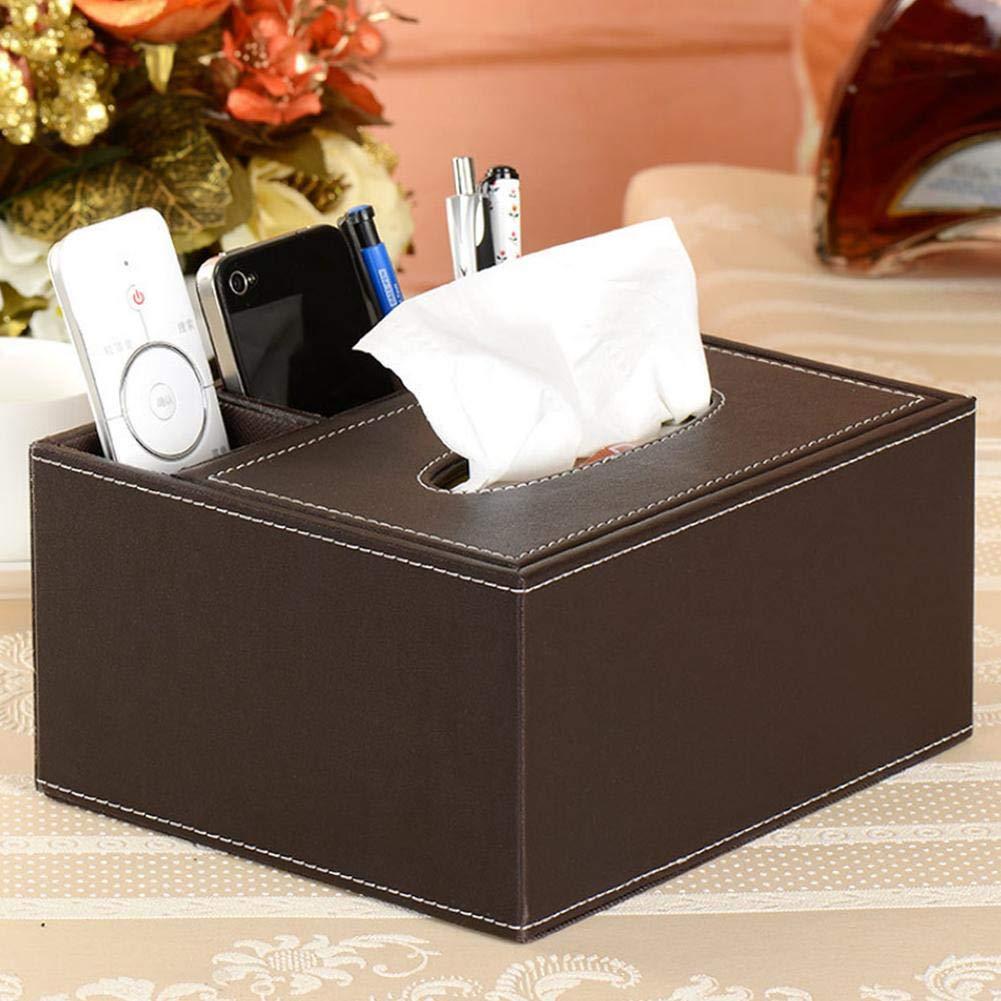 Diuspeed Diuspeed Diuspeed Multi-Funktions-Tissue-Box, Kunstleder Schreibtisch Organizer Box Tissue Cover Halter & TV-Fernbedienung für den Haushalt B07H8TZCNQ Kosmetiktücherboxen b677ca