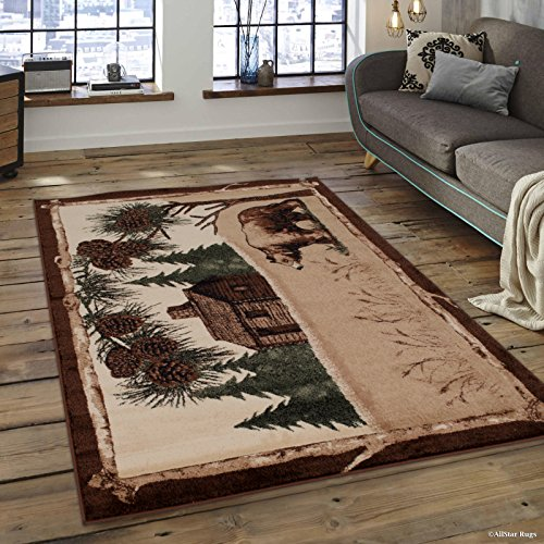 Allstar 8x10 Mocha and Ivory Cabin Rectangular Accent Rug with Chocolate and Espresso Wildlife Walking Bear Design (7' 6