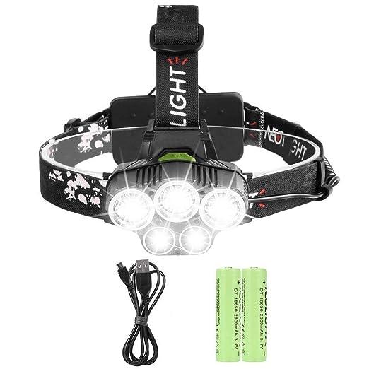 Lampe Frontale Super Puissante Avec 5 Led T6 Lampe Phare 6 Modes De