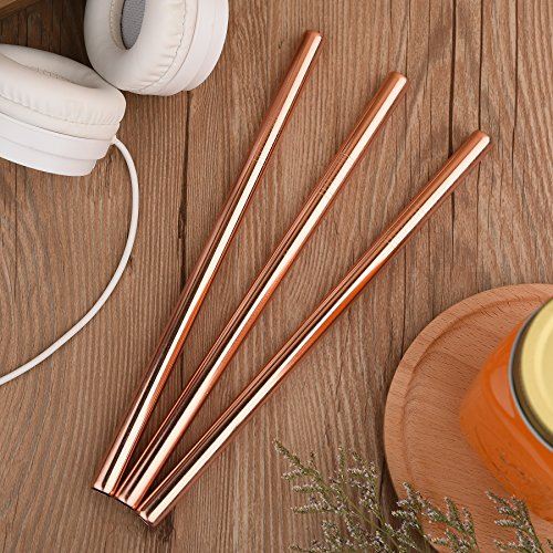 JOYECO 4 Pcs Stainless Steel Boba Straws, FDA Approved Big Straws Smoothies Reusable, Wide Straw 9.5″ x 0.5″ for Bubble Tea, Juice, Thick Milkshakes, Rose Gold
