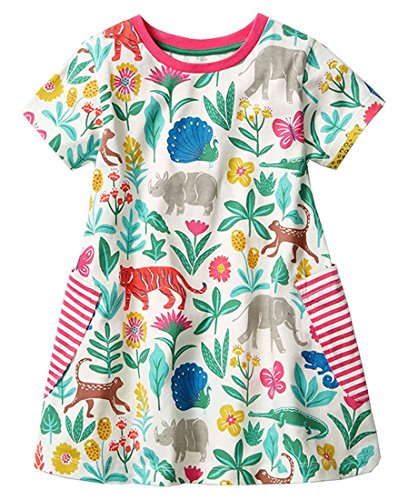 lymanchi Toddler Girls Short Sleeve Dress Summer Casual Dress Cotton T-Shirt Dresses 909330 2T ()