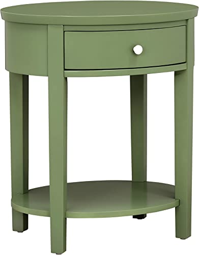 Union 5 Home Silverdalen Oval 1-Drawer Nightstand, Meadow Green
