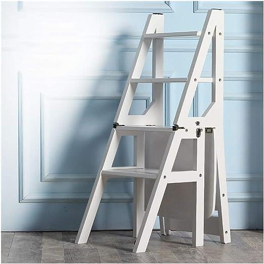 Step Stool Wooden- Escaleras de tijeras Escalera de escaleras multiusos plegable Estante Escalera Estante de la silla para la cocina de la biblioteca en casa welcome (color : Solid wood(white)) :