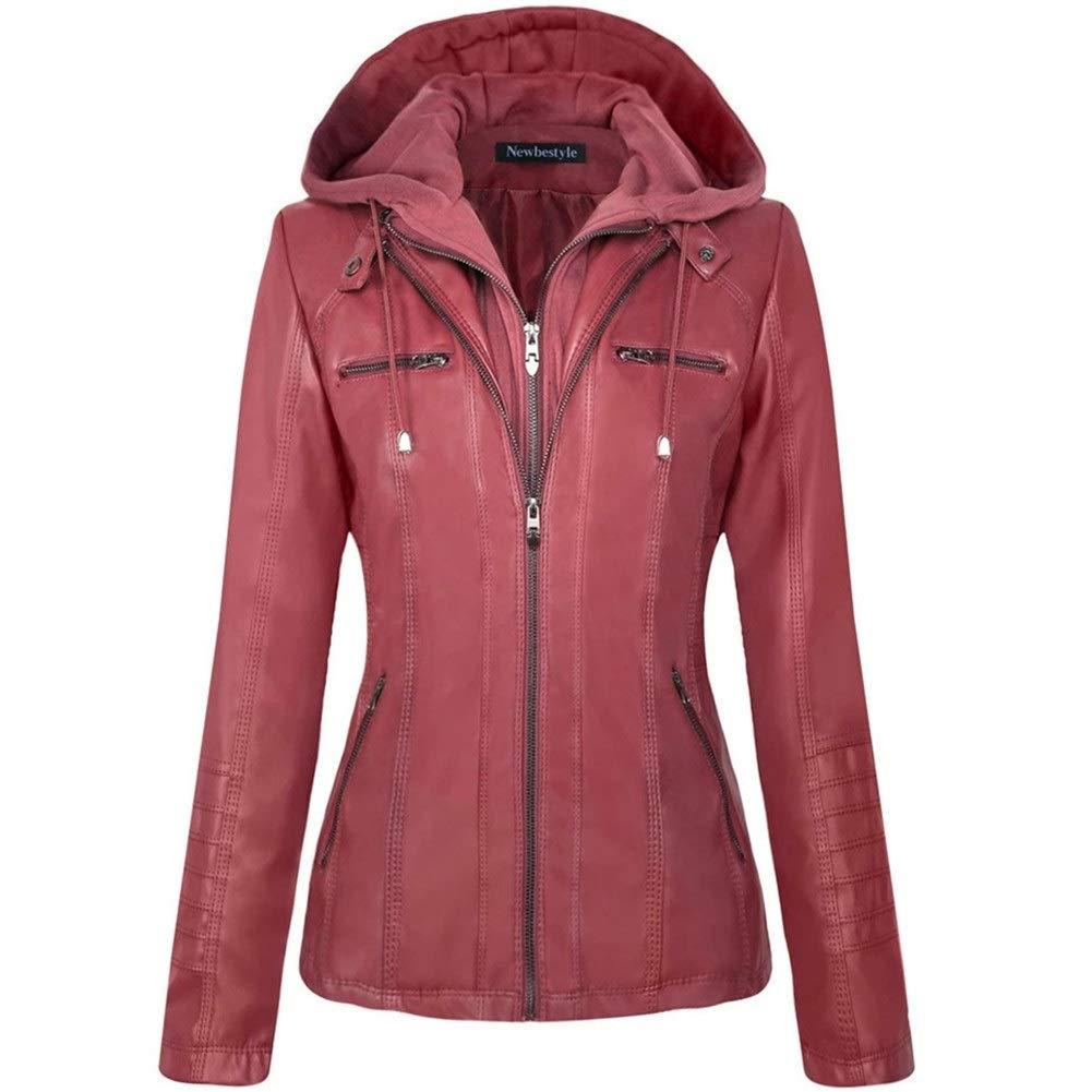 Newbestyle Women Hooded Faux Leather Jacket Hat Detachable Zipper Jacket Women Motorcyle Jacket Wine Red M