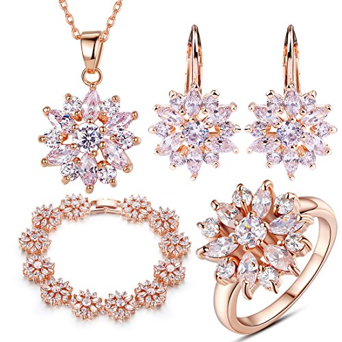 BAMOER-Women-Ladies-Jewelry-Set-Rose-Gold-Plated-Finger-Ring-Pendants-Necklace-Stud-Earring-Charms-Bracelet
