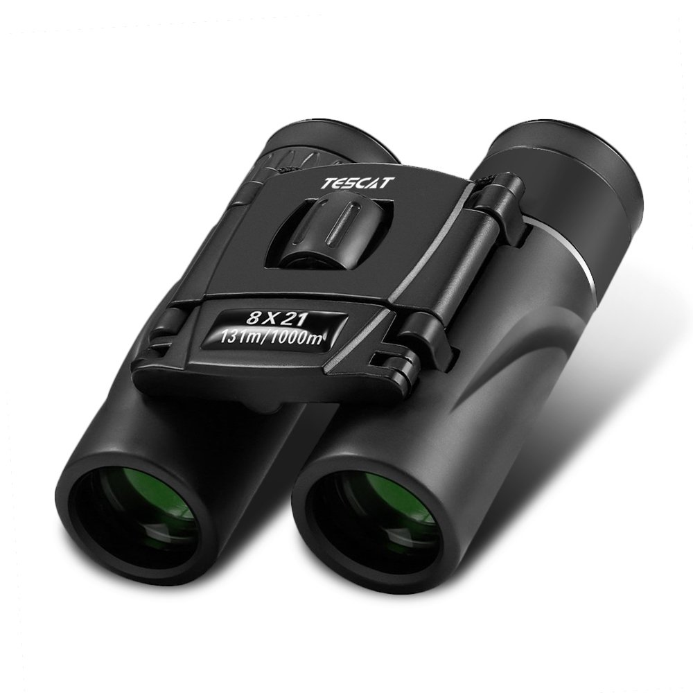 Tescat 8x21 Small Compact Lightweight Binoculars for Adults. Travel Mini Pocket Folding Binoculars for Outdoor Birding Sightseeing Hunting Hiking.Premium Glass lens, Shockproof(Black,0.38lb) by Tescat