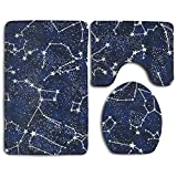 Glow In The Dark Constellations Midnight Fabric By The Yard Bath Mat Set,3 Piece Bathroom Mats Set Non-Slip Bathroom Rugs/Contour Mat/Toilet Cover