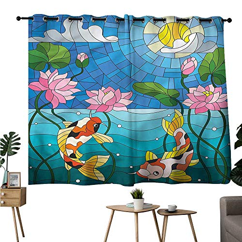 Diycon Noise Reduction Curtain Koi Fish Stained Glass Lotus Flower Durable W63 xL63 Suitable for Bedroom Living Room Study,etc