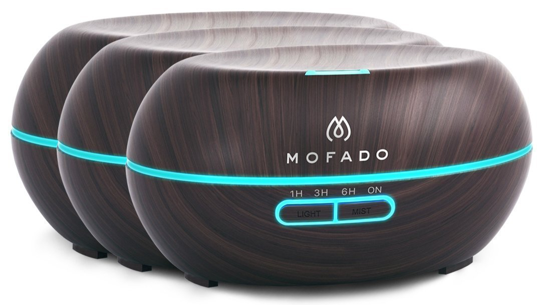 MOFADO Essential Oil Diffuser (set of 3) - 200ml Ultrasonic Aromatherapy Humidifier with Diffuser - Dark Faux Wood - Silent Cool Mist - 7 LED Mood Lights - Auto Shut Off