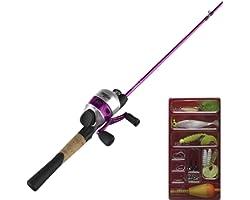 Zebco 33 Spincast Reel and 2-Piece Fishing Rod Combo, 5.5-Foot Durable Fiberglass Rod with Split Cork/EVA Handle, Quickset An
