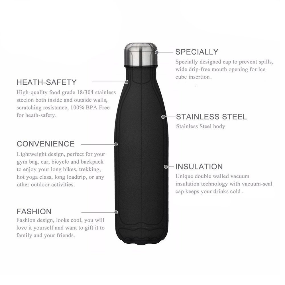 1449851d0fc5 Kungix Vacuum Water Bottle, Insulated Stainless Steel Metal Lightweight  Double Walled Drinking 500ml Flask Vase for Outdoor Sports Riding Cycling  ...