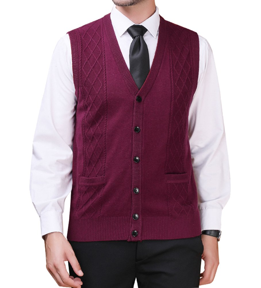 Zicac Men's V-Neck Jacquard Vest Knitwear Sweater Waistcoat (L, Wine Red#3)