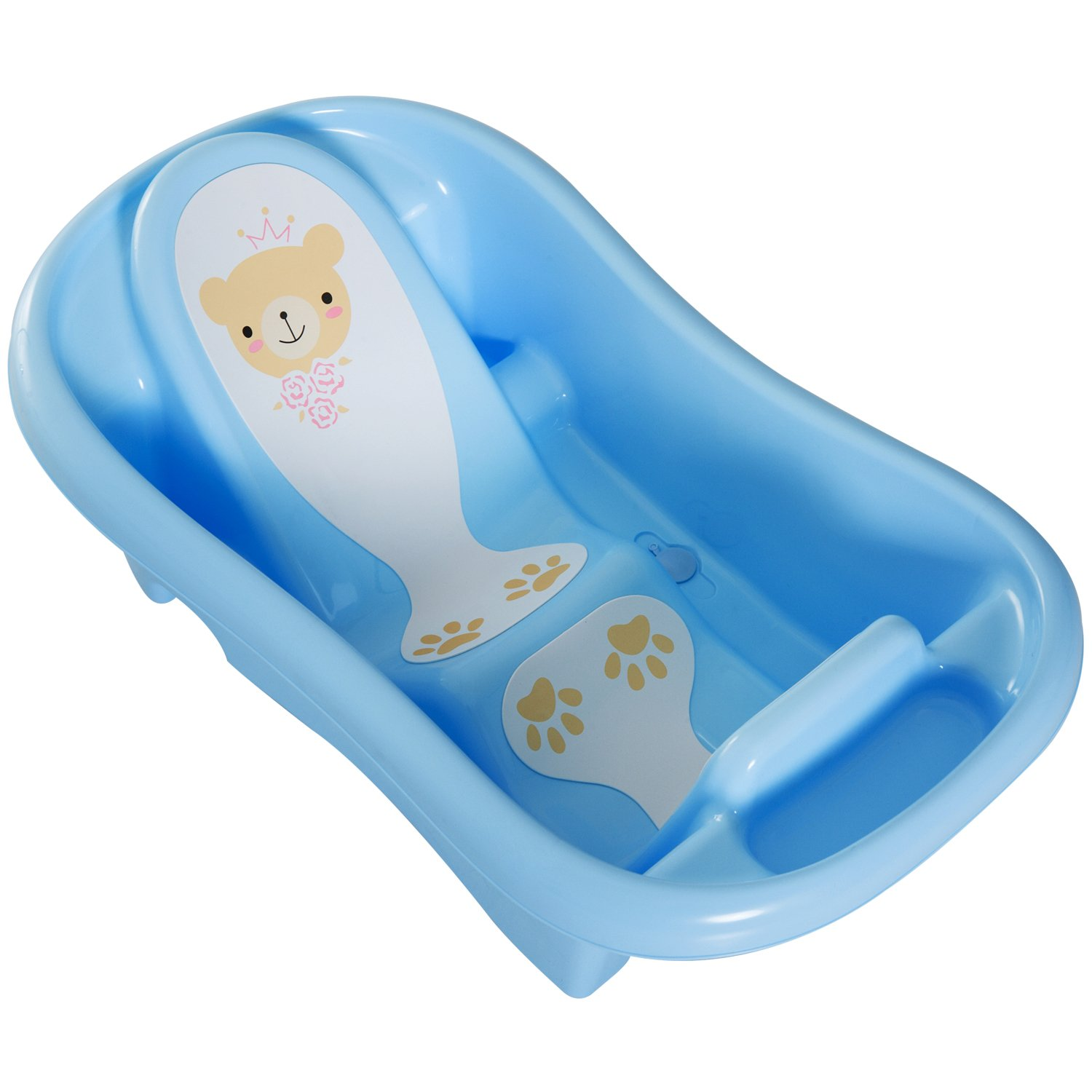 Baby Bath Tub Set Shaped Support /& Foam Backrest Non Slip New Born Infant Safe