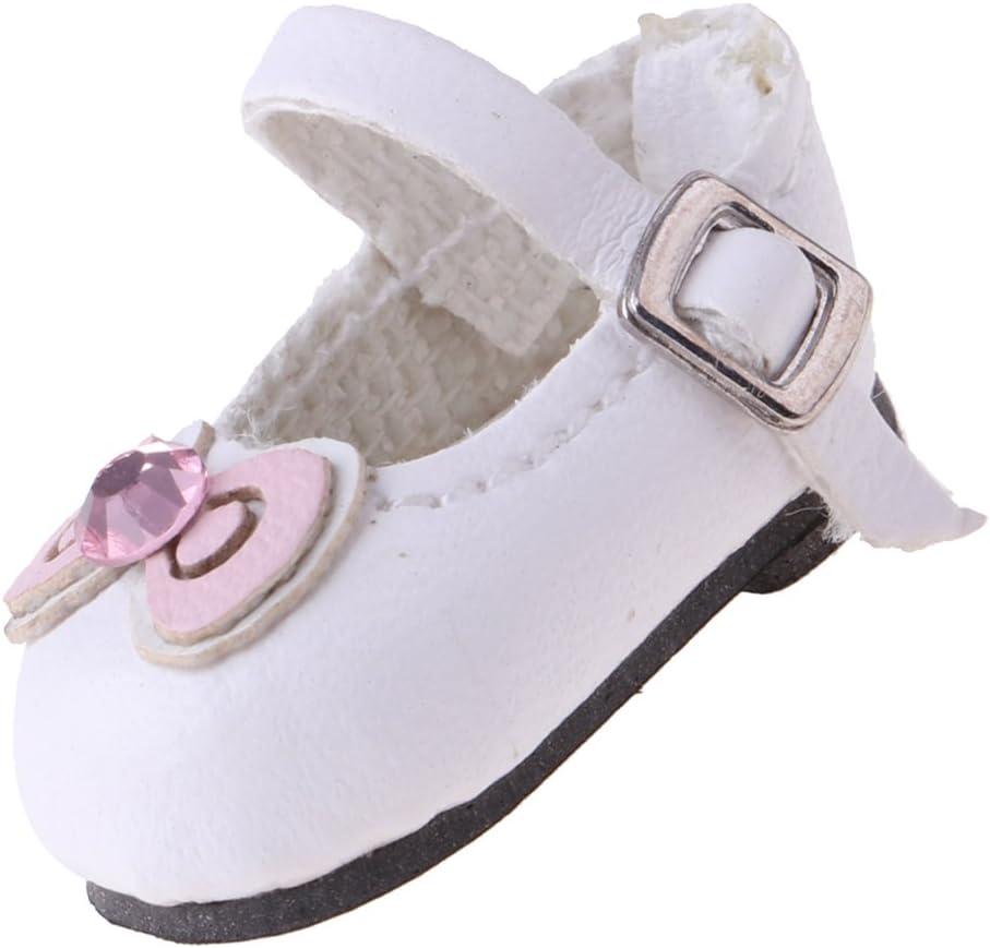 perfeclan Preciosos Mini Zapatos De Cuero Blanco Hechos A Mano para Muñeca Blythe 1/6