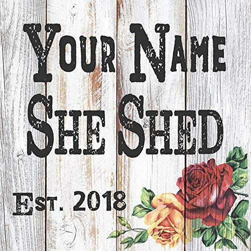 Chico Creek Signs Your Name Personalized She Shed with Roses Farmhouse Style White Wood Sign Wall Décor Gift B3-12120007001
