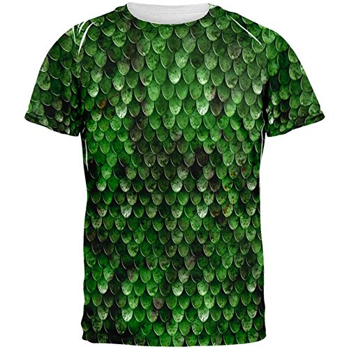 Halloween Wood Elf Scale Mail Armor Costume All Over Mens T Shirt Multi (Wood Elf Halloween Costumes)