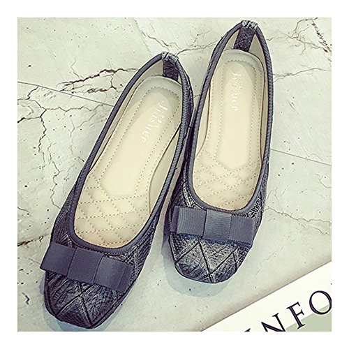 Snakeskin Flat Shoes Square Thin Checks 36 grey Bowknot Pattern U7dZq