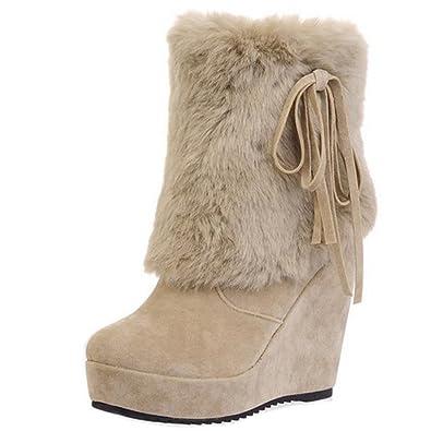 TAOFFEN Damen Winter Keilabsatz Schneestiefel Ankle Boots Black Size 34 Asian pnXb1z