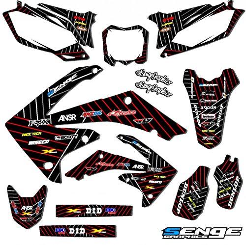 Senge Graphics Kit Compatible with Honda 2002-2012 CR 125/250 2-Stroke WITH POLISPORT RESTYLED PLASTICS, Race Series Black Complete Graphics Kit ()