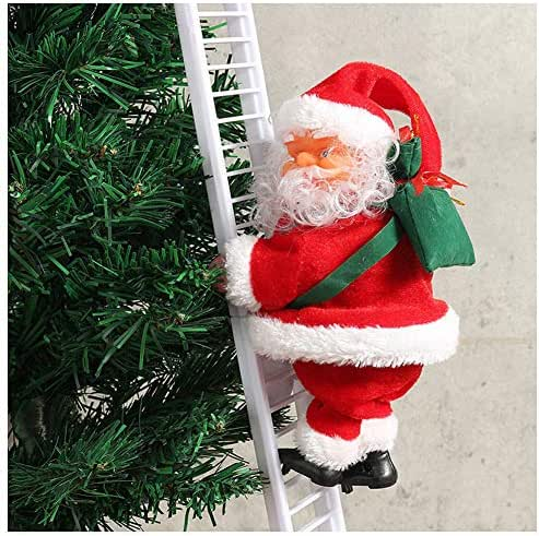 Thethan 1 Pcs Electric Climbing Ladder Santa Claus Christmas Figurine Ornament Decoration Gifts
