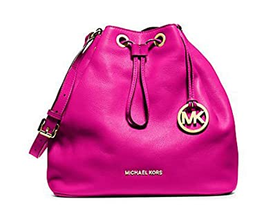e283bad0b1a3 Image Unavailable. Image not available for. Color: Michael Kors Jules  Drawstring Leather Large Shoulder ...