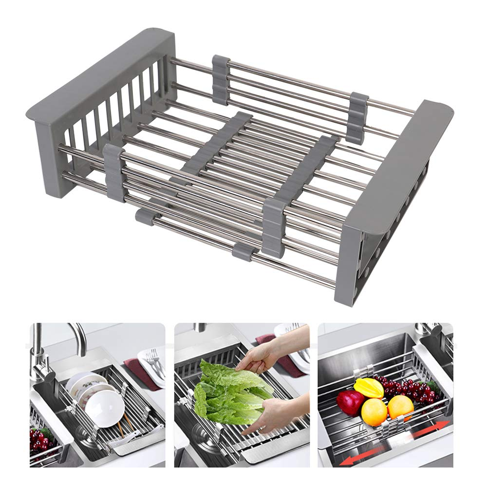 HOMESPON Drain Rack Adjustable Dish Drying Rack Retractable Dish Draining Board Stainless Steel Drain Tray Over Sink Drain Basket in Kitchen for Dish Fruit Vegetable,Large Size