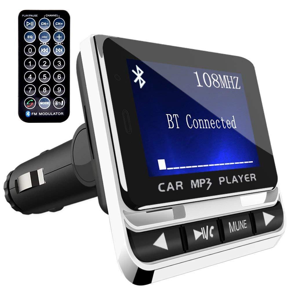 Bluetooth FM Transmitter, ToHayie Wireless Auto Radio Adapter, Freisprecheinrichtung Car Kit mit USB Auto-Ladegerä te, 3.5 mm AUX und MicroSDHC-Karten-Slot fü r iPhone X, 8, Samsung S8, Car MP3 Player